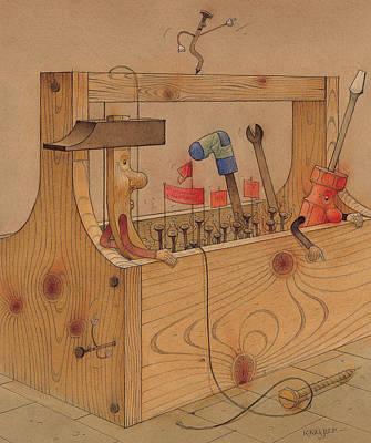 Hammer Drawing - Rebellion Against Dictator Hammer by Kestutis Kasparavicius