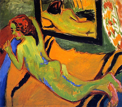 Mirroring Painting - Reclining Nude With Pipe by Ernst Ludwig Kirchner