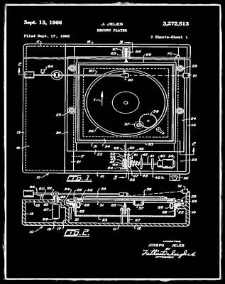 Player Drawing - Record Player Patent 1966 Black by Digital Reproductions