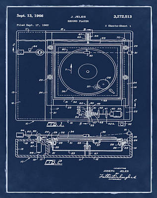 Player Drawing - Record Player Patent 1966 Blue by Digital Reproductions