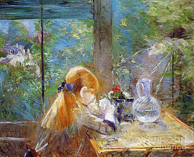 Glass Vase Painting - Red-haired Girl Sitting On A Veranda by Berthe Morisot