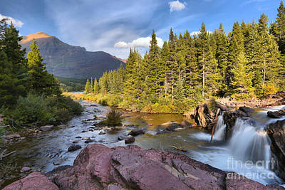 Ledge Photograph - Red Rock Falls Landscape by Adam Jewell