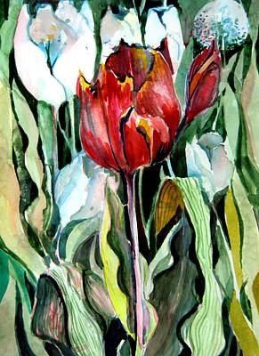 Tulips Drawing - Red Tulip by Mindy Newman