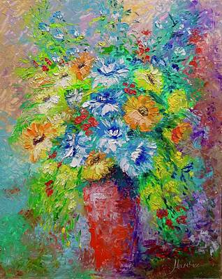 Mums Painting - Red Vase by Marina Wirtz