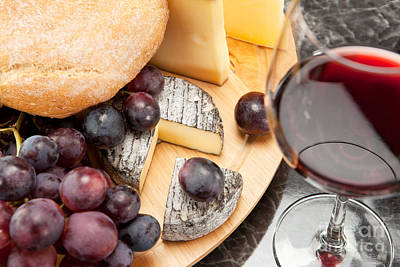 Red Wine With Wine Grapes Cheese Plate And Bread Print by Wolfgang Steiner