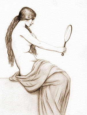 Nude Drawing - Reflection Of Beauty - Sepia by Stevie the floating artist