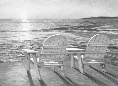 Cape Cod Beach Painting - Relaxing Sunset - Black And White by Lucie Bilodeau