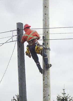 Telephone Poles Photograph - Replacement Of A Telephone Pole by Scimat