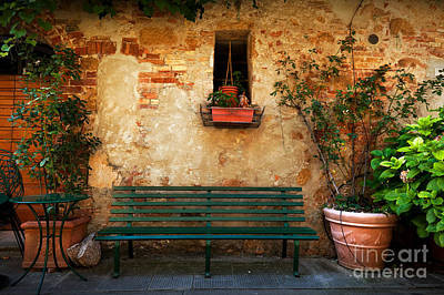 Bench Photograph - Retro Bench Outside Old Italian House In A Small Town Of Pienza, Italy. Vintage by Michal Bednarek