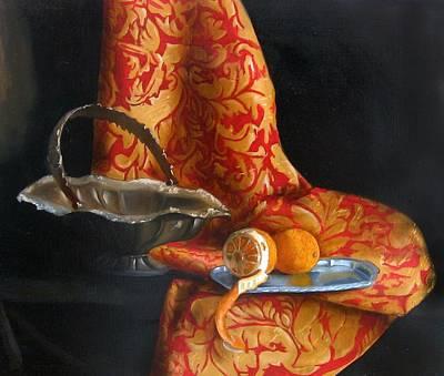 Tangerine Painting - Retro Citrus by Kristina Savchenko