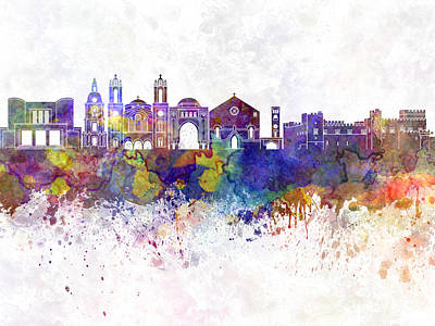 Rhodes Painting - Rhodes Skyline In Watercolor Background by Pablo Romero