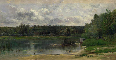 Realistic Painting - River Scene With Ducks by Charles-Francois Daubigny