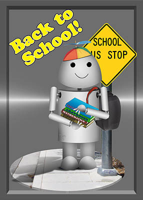 Bus Mixed Media - Robo-x9  Back To School by Gravityx9 Designs