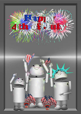 Old Glory Mixed Media - Robo-x9 Celebrates Freedom by Gravityx9  Designs