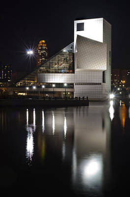 Rock And Roll Hall Of Fame At Night Print by At Lands End Photography