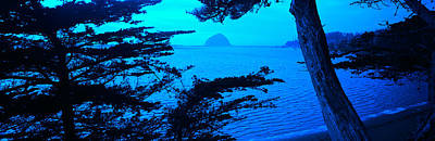 Rock In A Lake At Dusk, Morro Rock Print by Panoramic Images