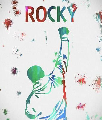 Boxer Mixed Media - Rocky Balboa Paint Splatter by Dan Sproul