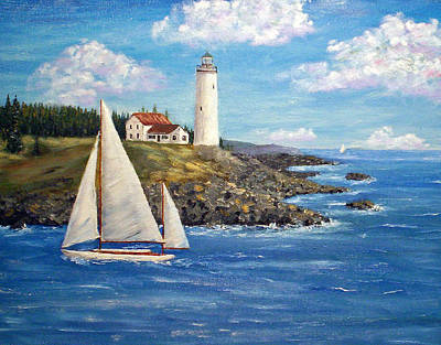 Maine Lighthouses Painting - Rocky Shore by Stanton Allaben