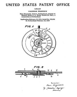Sepia Chalk Drawing - Rolex Watch Patent 1999 by Bill Cannon