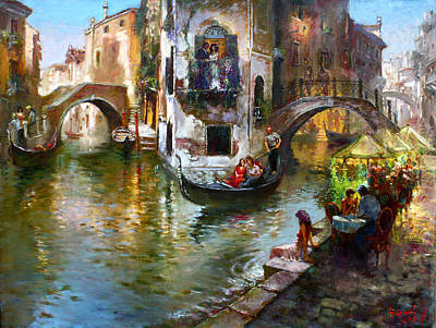 Venice Painting - Romance In Venice by Ylli Haruni