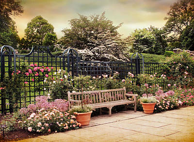 Benches Digital Art - Rose Garden Trellis by Jessica Jenney