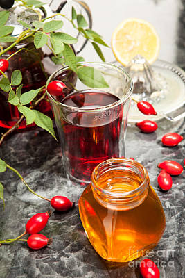 Tea Photograph - Rosehip Tea With Honey And Lemon In Glass by Wolfgang Steiner