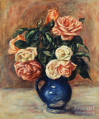 Bouquets Of Pink Flowers Green Blue Painting - Roses In A Blue Vase by Pierre Auguste Renoir