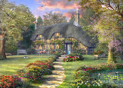 Rosewood Cottage Print by Dominic Davison