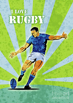 Retro Digital Art - Rugby Player Kicking The Ball by Aloysius Patrimonio