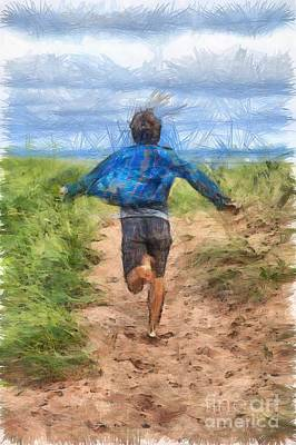 Colored Pencil Drawing - Running Free by Edward Fielding