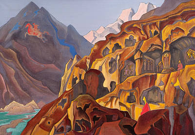 Mount Painting - Sacred Caves by Nicholas Roerich