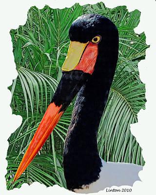 Stork Digital Art - Saddle-billed Stork by Larry Linton