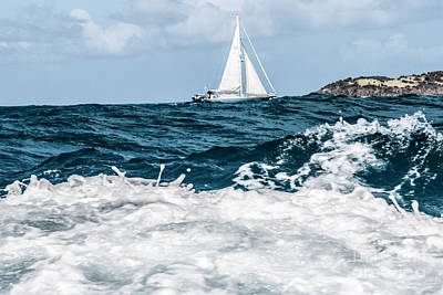 Sailboat And High Seas Print by Thomas Marchessault
