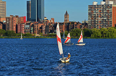 Sailing The Charles River Boston Ma Print by Toby McGuire