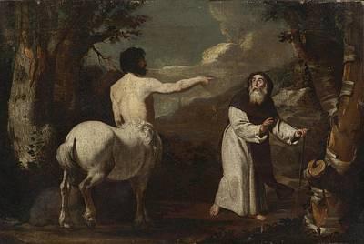 Centaur Painting - Saint Anthony Abbot And The Centaur by Francesco Guarino