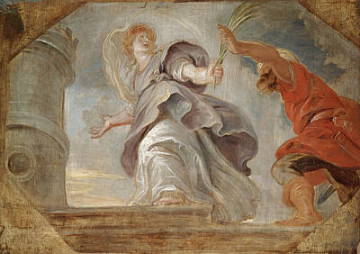 Saint Barbara Fleeing From Her Father Print by Peter Paul Rubens