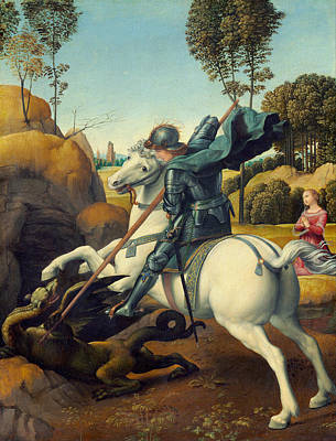 Saint George Painting - Saint George And The Dragon by Raffaello Sanzio