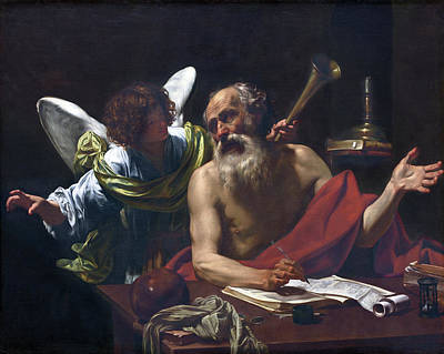 Simon Vouet Painting - Saint Jerome And The Angel by Simon Vouet