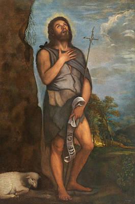 Lamb Painting - Saint John The Baptist by Titian