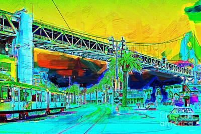Wingsdomain Digital Art - San Francisco Embarcadero And The Bay Bridge by Wingsdomain Art and Photography