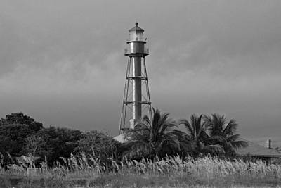 Black White Photograph - Sanibel Lighthouse by Michiale Schneider