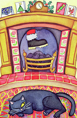 Cat Cartoon Painting - Santa Arriving Down The Chimney by Cathy Baxter