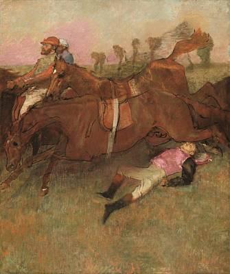 Steeplechase Race Painting - Scene From The Steeplechase - The Fallen Jockey by Mountain Dreams