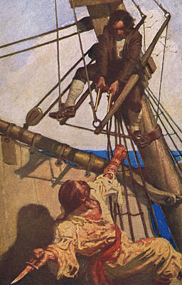 Scene From Treasure Island Print by Newell Convers Wyeth
