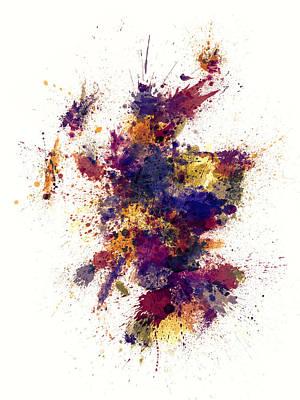 Scotland Paint Splashes Map Print by Michael Tompsett