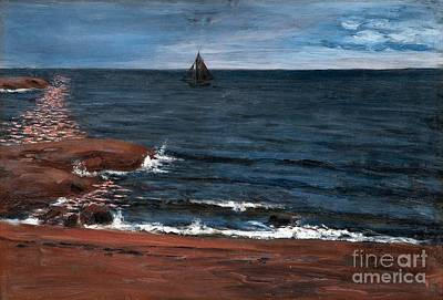 Seascape Painting - Seascape In Moonlight by Celestial Images