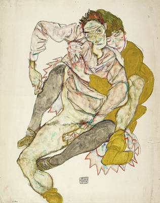 Sitting Painting - Seated Couple by Egon Schiele