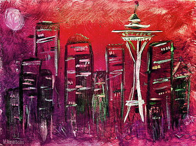 Seattle Skyline Painting - Seattle Skyline by Melisa Meyers