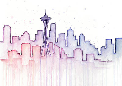 Drips Painting - Seattle Skyline Watercolor by Olga Shvartsur