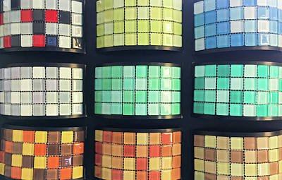 Beige Glass Photograph - Selection Of Decorative Tiles by Tom Gowanlock